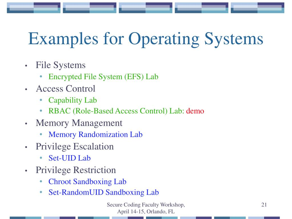 Examples for Operating Systems