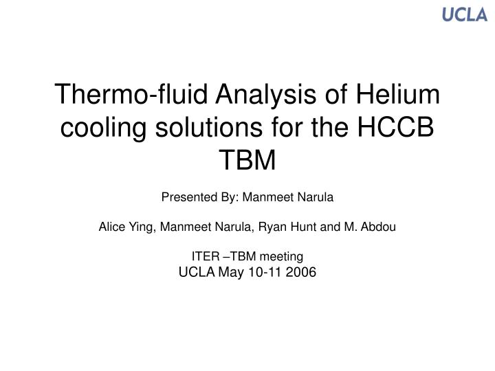 thermo fluid analysis of helium cooling solutions for the hccb tbm n.