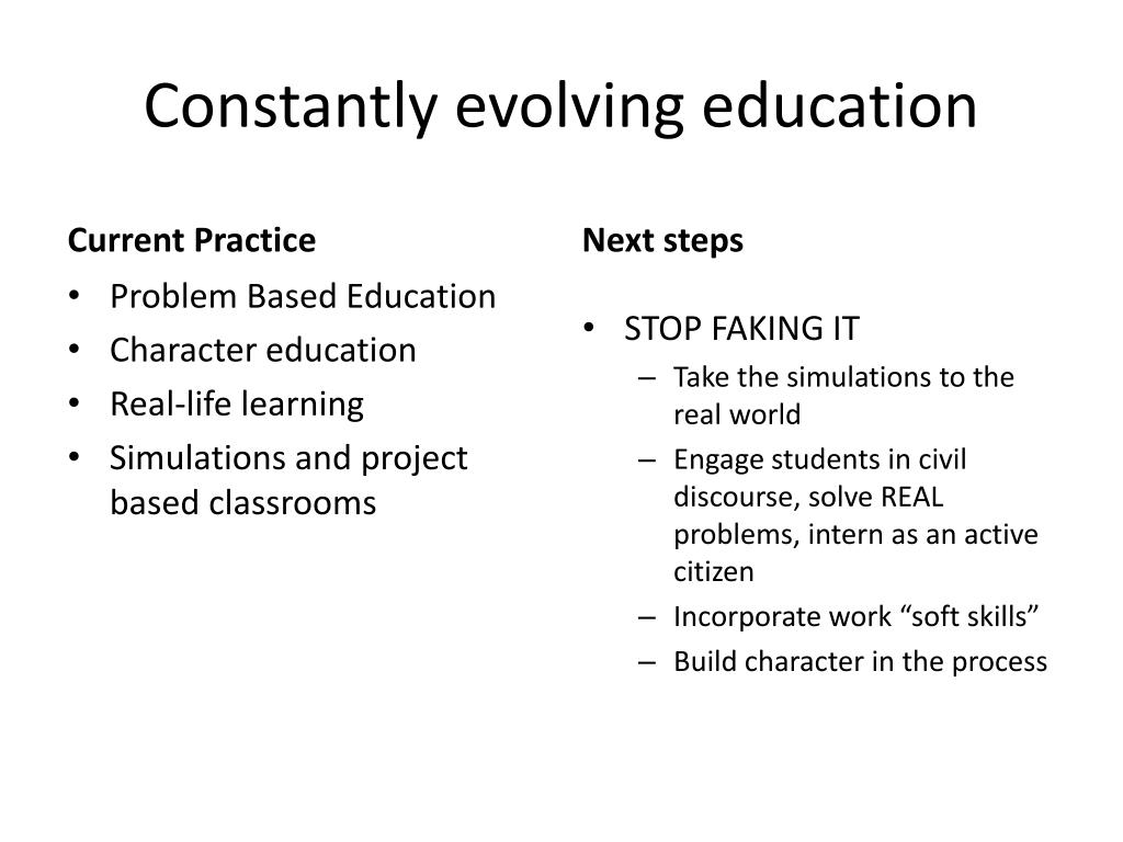 Constantly evolving education