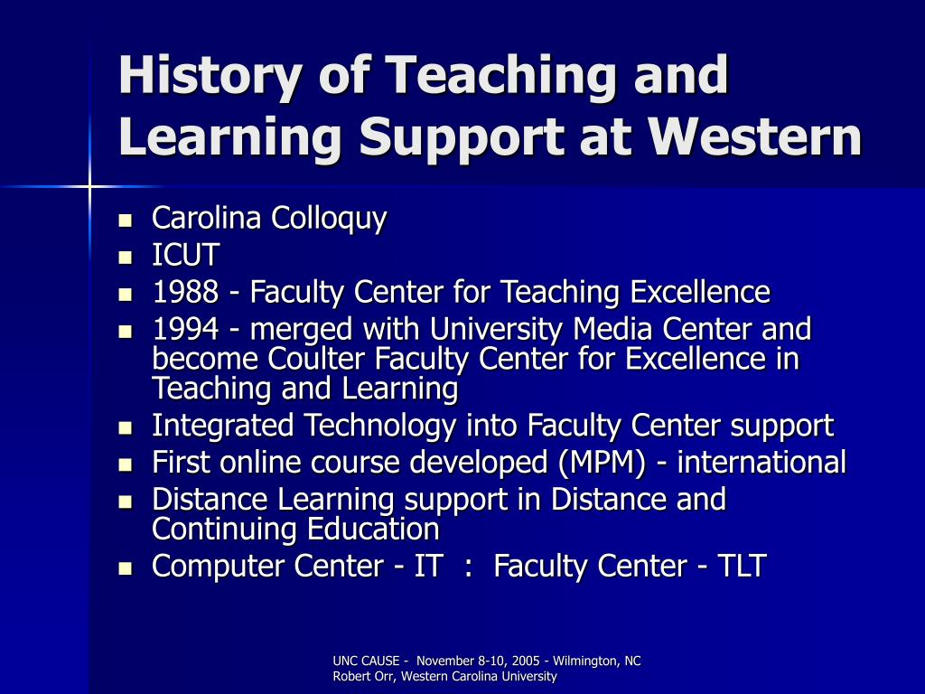 History of Teaching and Learning Support at Western
