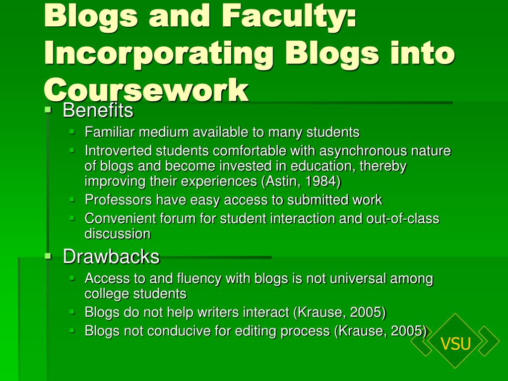 Blogs and Faculty: Incorporating Blogs into Coursework