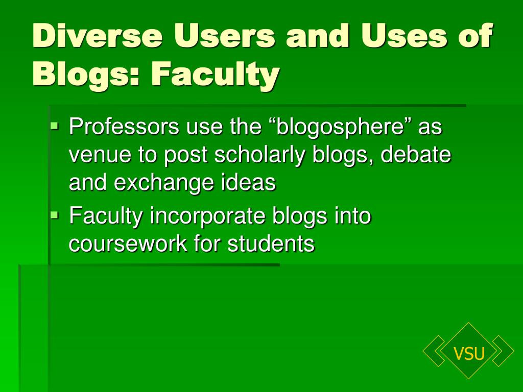 Diverse Users and Uses of Blogs: Faculty