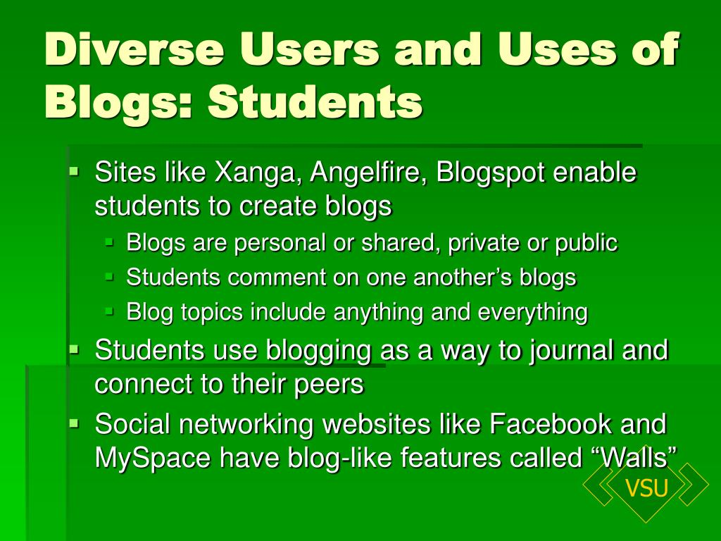 Diverse Users and Uses of Blogs: Students