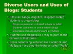 diverse users and uses of blogs students