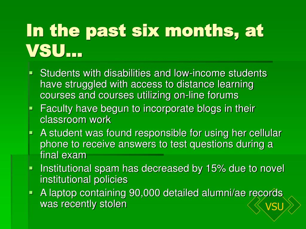 In the past six months, at VSU…
