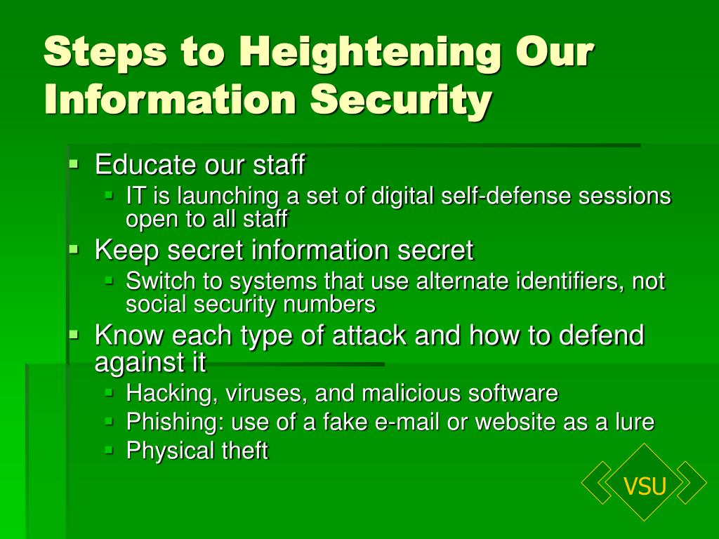 Steps to Heightening Our Information Security