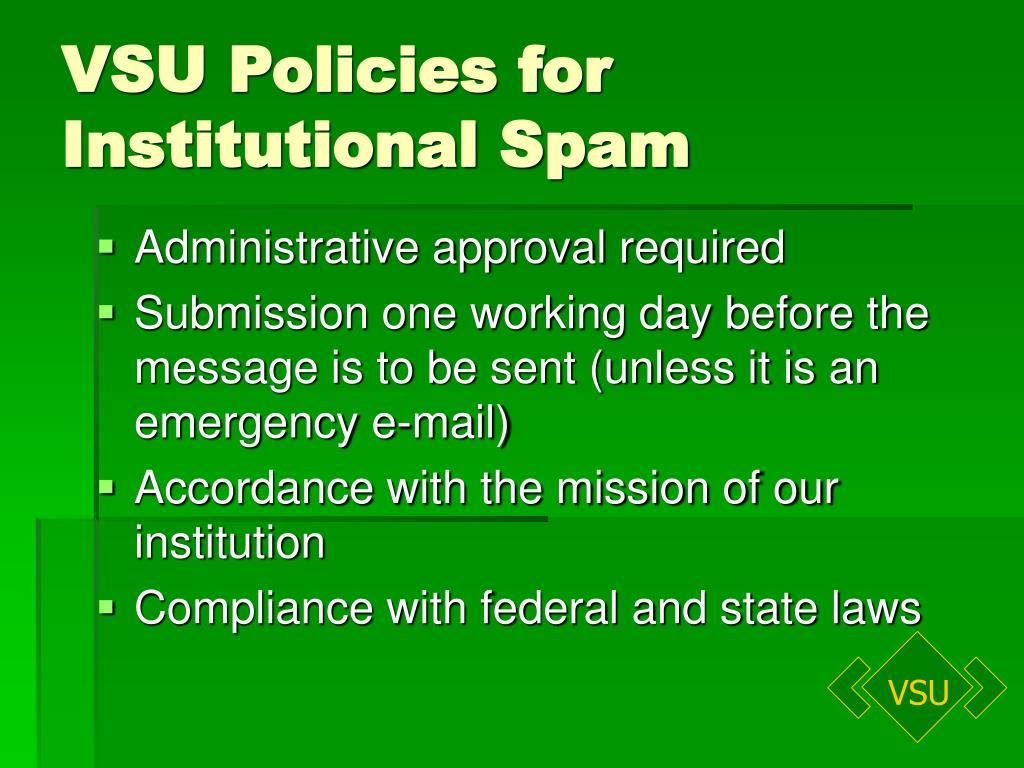 VSU Policies for