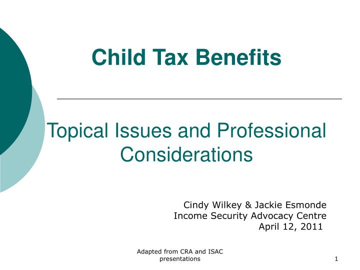 child tax benefits topical issues and professional considerations n.