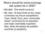where should the world exchange rate system be in 2050