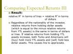 comparing expected returns iii21