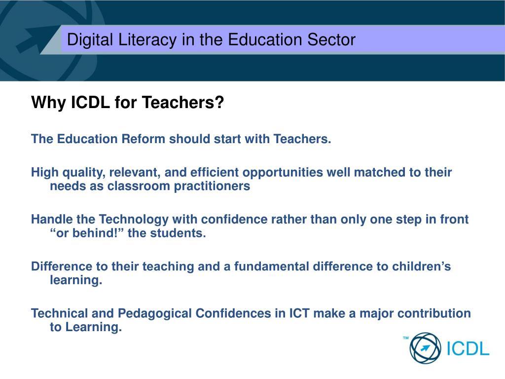 Why ICDL for Teachers?