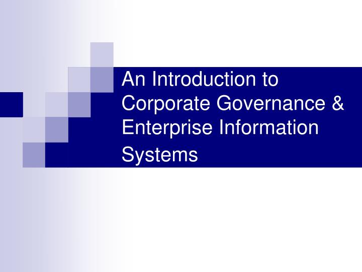 Ppt an introduction to corporate governance & enterprise.