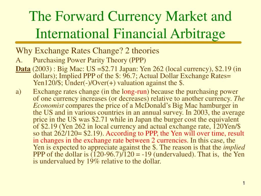 the forward currency market and international financial arbitrage l.