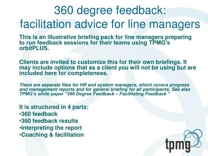 360 degree feedback facilitation advice for line managers n.