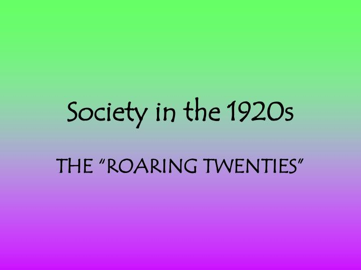 society in the 1920s n.