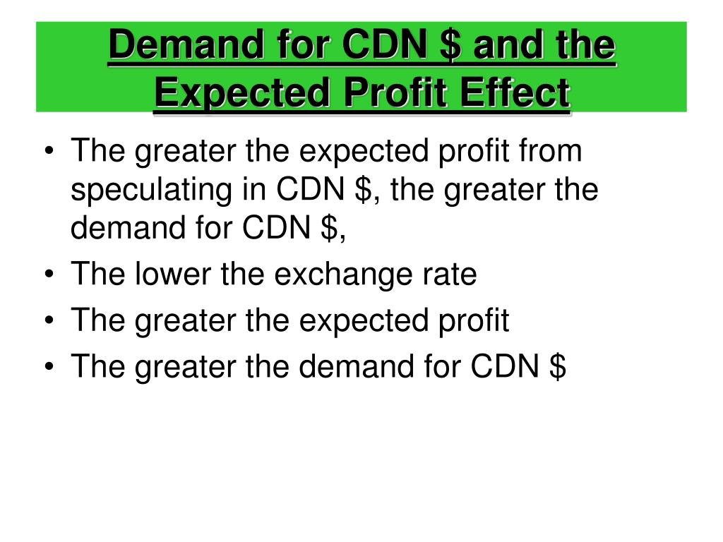 Demand for CDN $ and the Expected Profit Effect