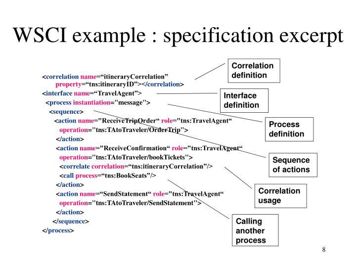 WSCI example : specification excerpt