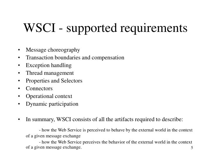 WSCI - supported requirements