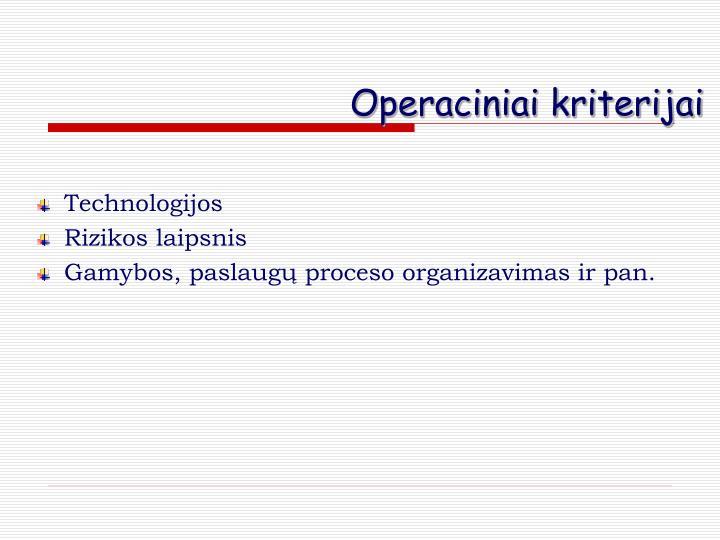Operaciniai kriterijai