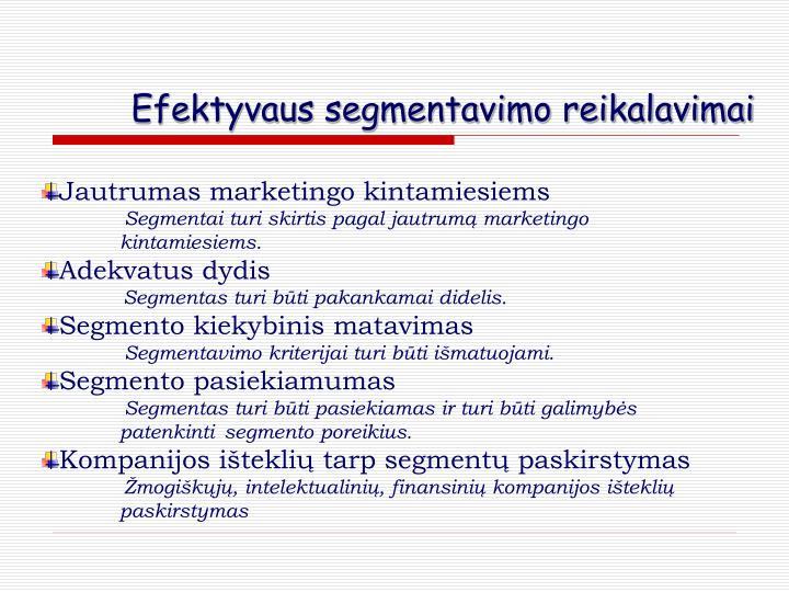 Efektyvaus segmentavimo reikalavimai