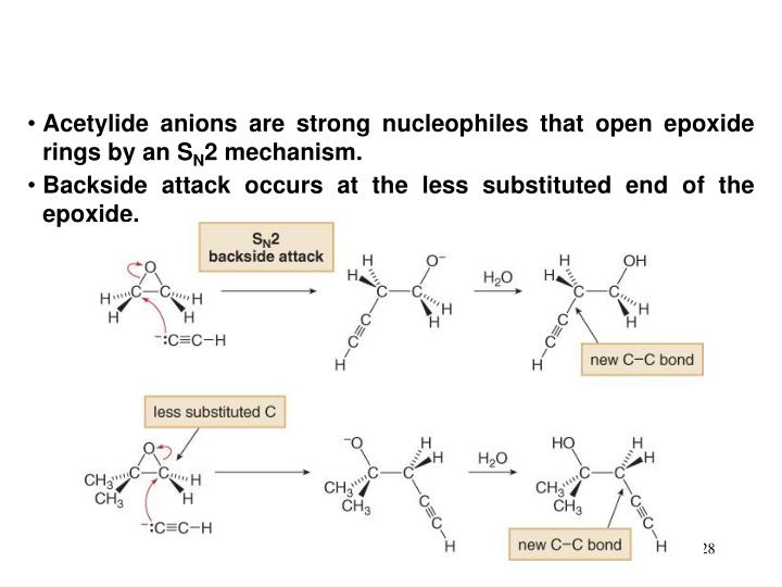 Acetylide anions are strong nucleophiles that open epoxide rings by an S