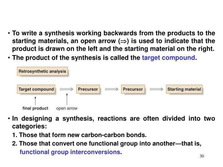 To write a synthesis working backwards from the products to the starting materials, an open arrow (