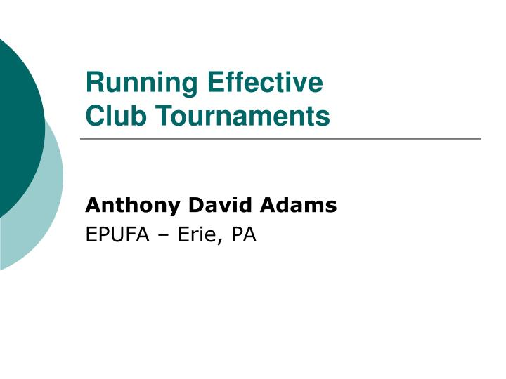 running effective club tournaments n.