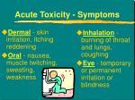 acute toxicity symptoms
