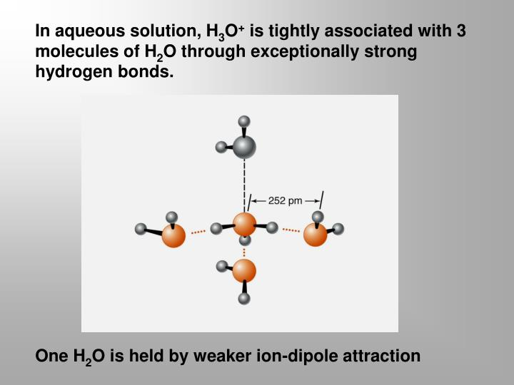 In aqueous solution, H