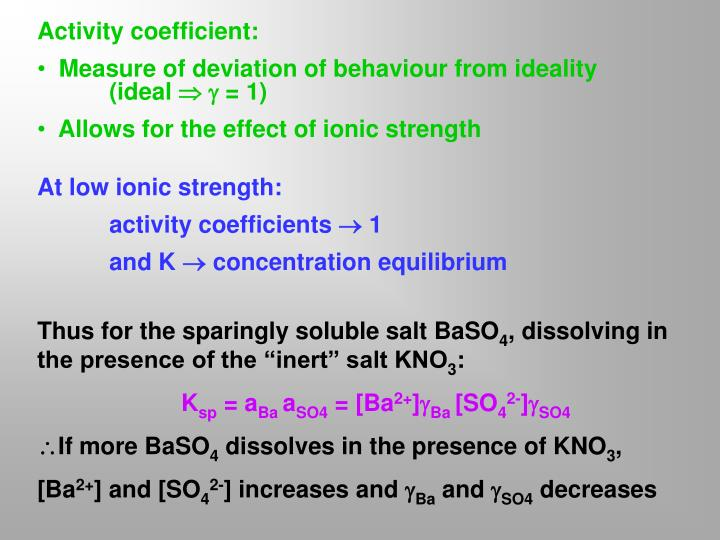Activity coefficient: