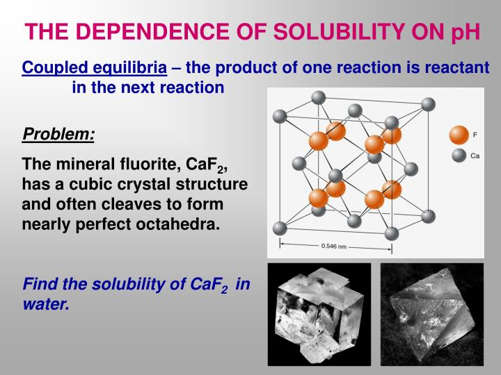 THE DEPENDENCE OF SOLUBILITY ON pH