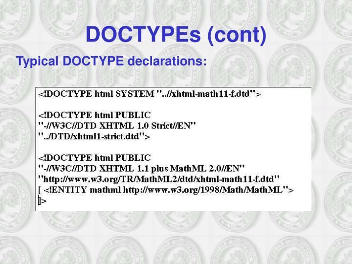 DOCTYPEs (cont)