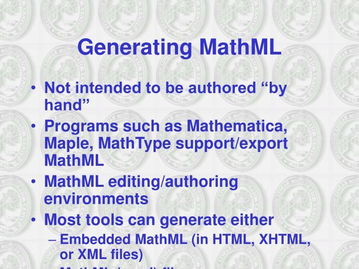 Generating MathML
