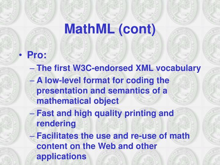 MathML (cont)