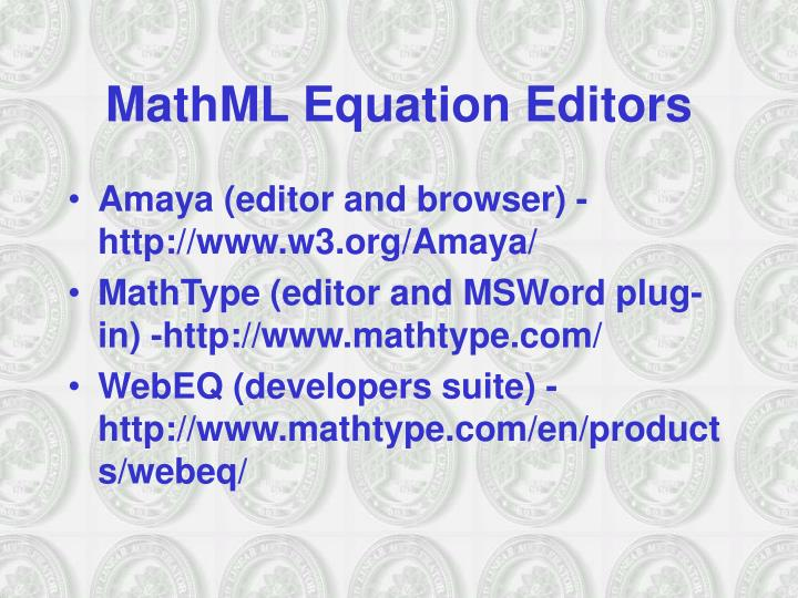 MathML Equation Editors