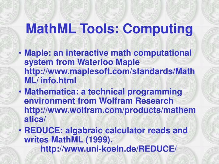 MathML Tools: Computing