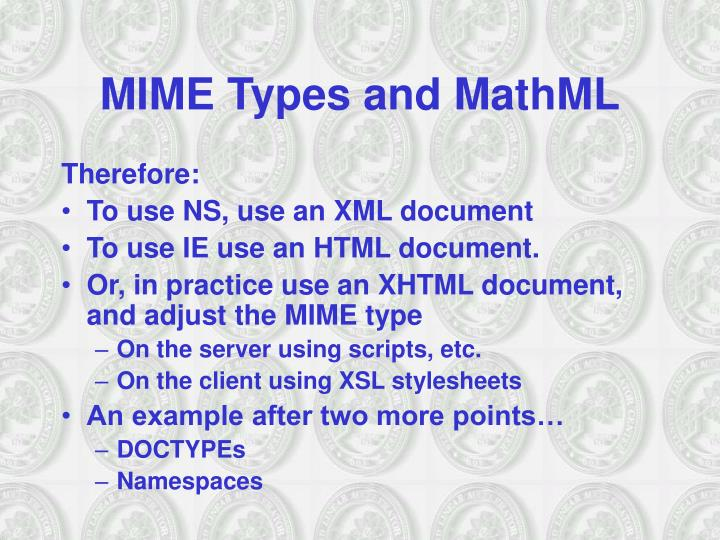 MIME Types and MathML