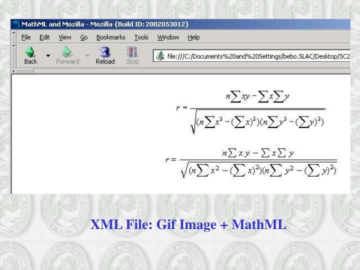 XML File: Gif Image + MathML