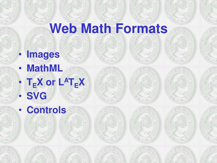Web Math Formats