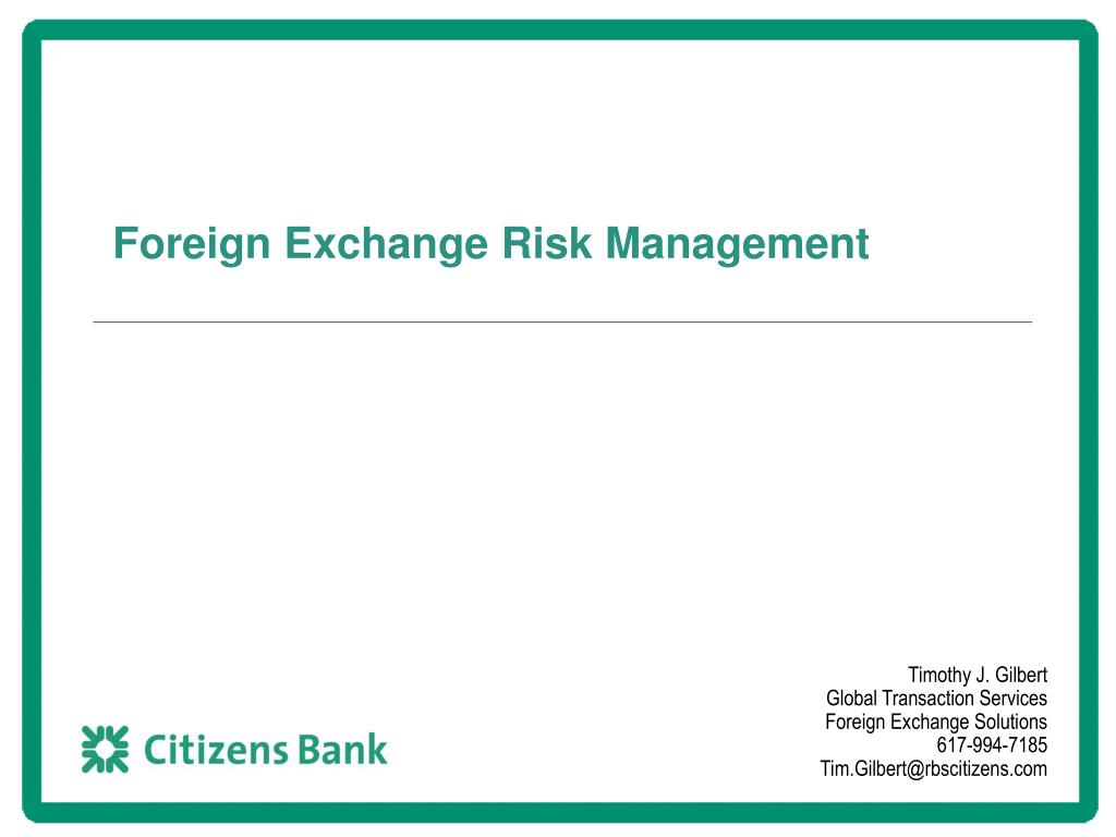 foreign exchange risk management l.