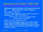 malaysian central bank 1985 1994