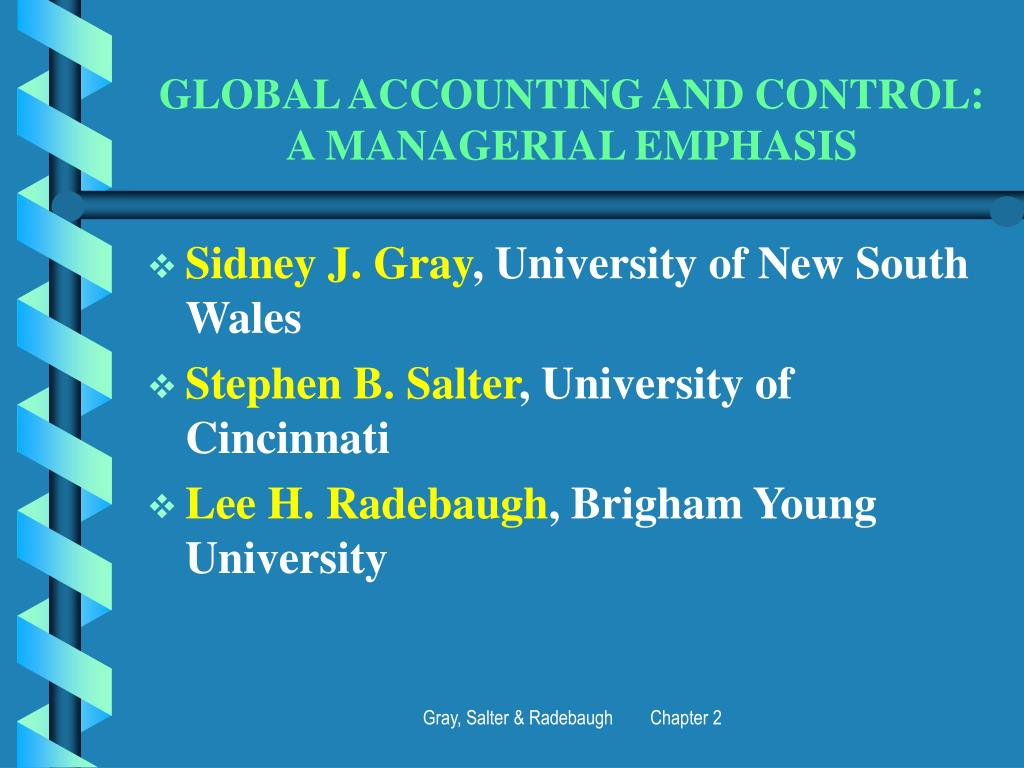 global accounting and control a managerial emphasis l.