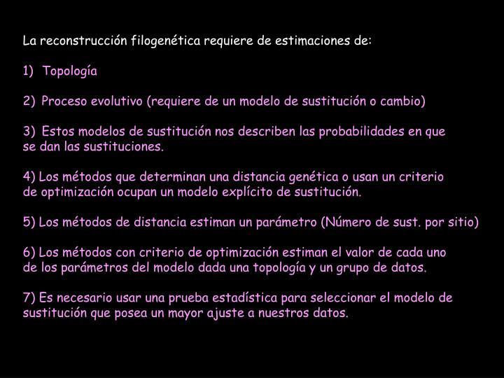 La reconstrucción filogenética requiere de estimaciones de: