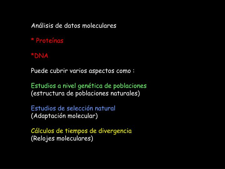 Análisis de datos moleculares