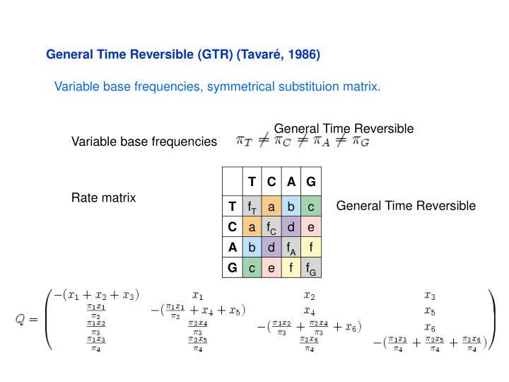 General Time Reversible (GTR) (Tavaré, 1986)