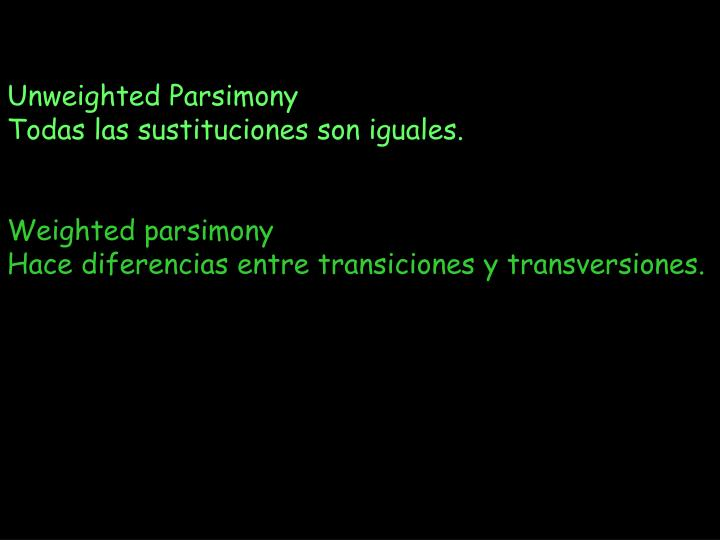 Unweighted Parsimony