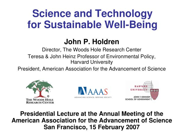 science and technology for sustainable well being n.