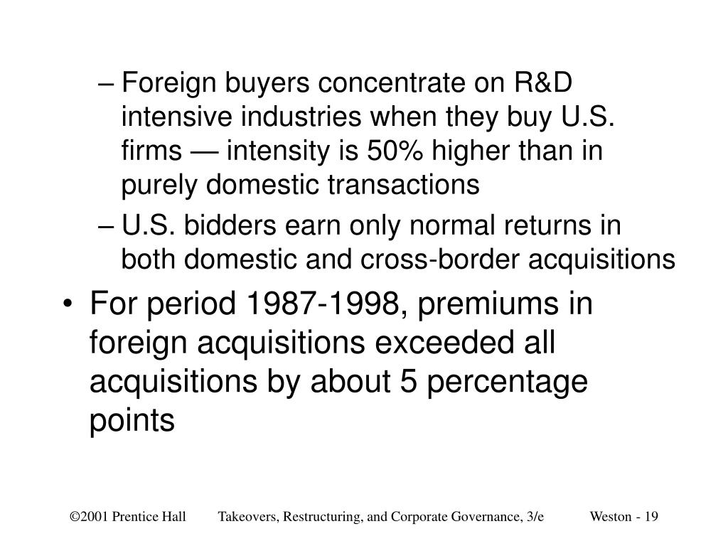 Foreign buyers concentrate on R&D intensive industries when they buy U.S. firms — intensity is 50% higher than in purely domestic transactions