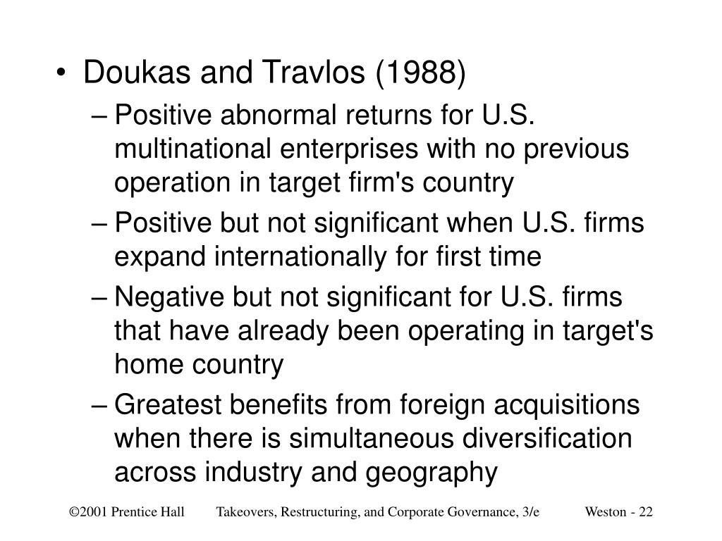 Doukas and Travlos (1988)
