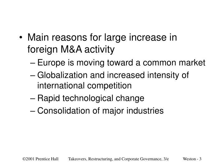 Main reasons for large increase in foreign M&A activity